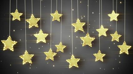 gold hanging stars christmas lights loop