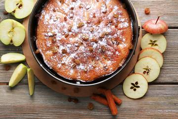 Homemade apple pie, close-up