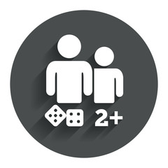 Board games sign icon. Two plus players symbol.