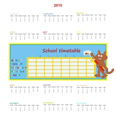 Calendar 2015 and school timetable
