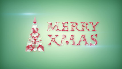 merry christmas greeting triangles shape animation