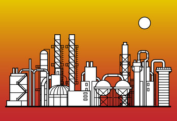 Oil refinery, vector