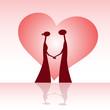 Obrazy na płótnie, fototapety, zdjęcia, fotoobrazy drukowane : Stylized profile of lovers with a heart