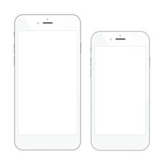 Two high quality white smartphone vector illustrations isolated