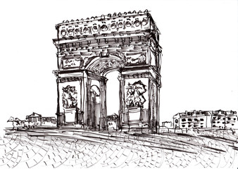hand draw paris de arc triomphe