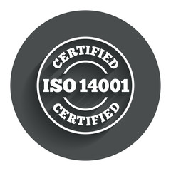 ISO 14001 certified sign. Certification stamp.