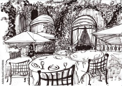 hand draw paris coffee shop - 70241846