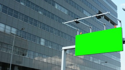 traffic signs - green screen - modern buildings