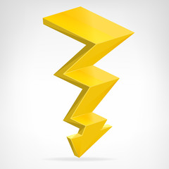 flash strike 3D icon vector isolated