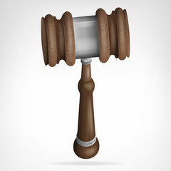 wooden gavel isolated object vector