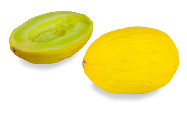 Sweet yellow melon on white background
