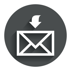 Mail receive icon. Envelope symbol. Get message