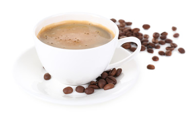 Cup of coffee with milk and coffee beans isolated on white