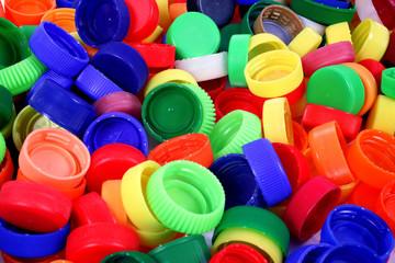 Color plastic caps background