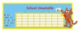 School timetable, tomcat and crayons poster