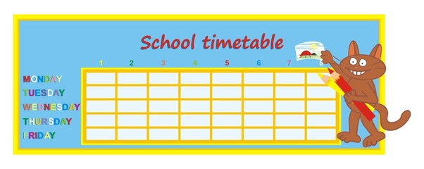 School timetable, tomcat and crayons