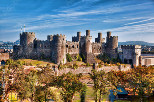 Fotobehang Kasteel Conwy Castle in Wales, United Kingdom, series of Walesh castles
