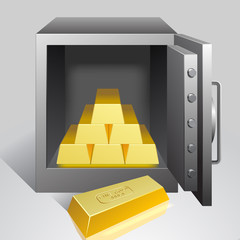 Safe with gold