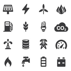 Energy and Industry Silhouette icons | EPS10
