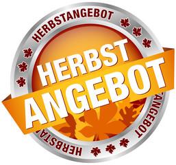 """Button Banner """"Herbstangebot"""" Laub/Silber"""