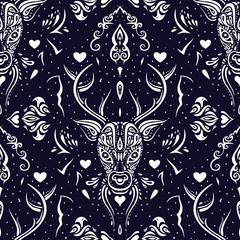 Deer head. Seamless pattern.