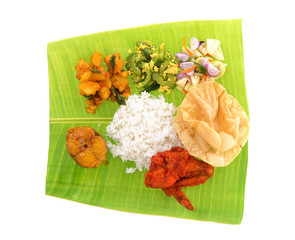 Indian banana leaf rice