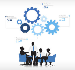 Four Business People with Gears Symbol