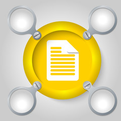 yellow circular frame for text and document icon