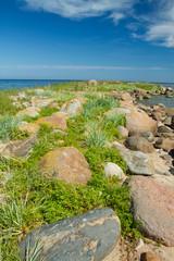 rocks into the sea