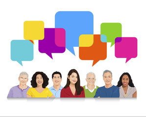 Group of People with Speech Bubble
