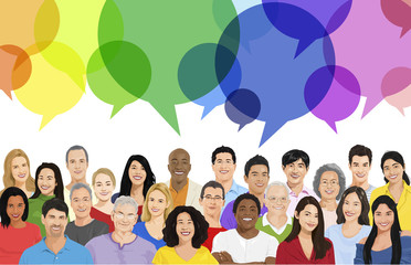 Illustration of Multiethnic People and Speech Bubble
