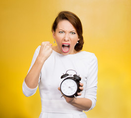 Punctuality. Be on time! Angry demanding boss screaming