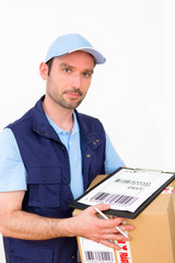 Delivery man on a white background