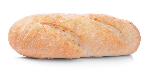 Loaf of french bread isolated on white background