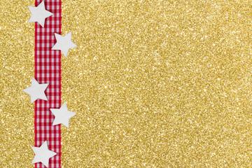 rot-weiß kariertes Band mit Sternen auf Gold