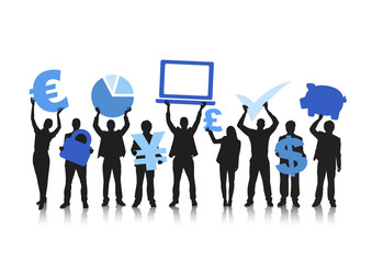 Group of People with Global Finance Concept