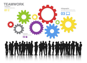 Teamwork Concept with Silhouettes of People