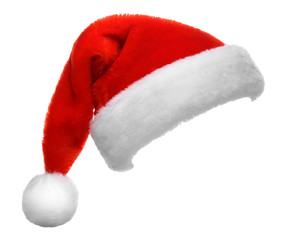 Single Santa Claus red hat isolated on white background