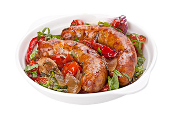 Sausages with stewed  vegetables