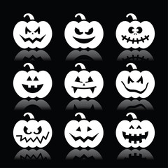 Halloween pumpkin vector icons set on black background