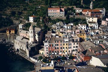 Vernazza and ocean coast in Cinque Terre, Italy