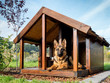 canvas print picture - German shepherd in its kennel