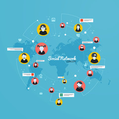 Social Media, Network concept. Flat design. Vector