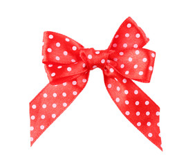 Red polka dot bow isolated on white