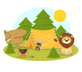 Stock vector flat camping in forest cartoon illustration