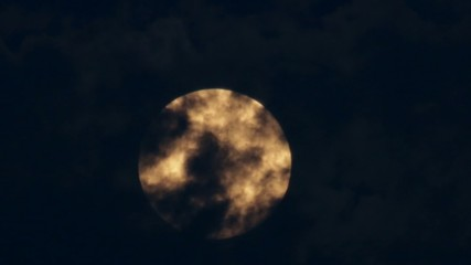 Orange Supermoon in a Cloudy Night