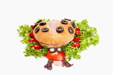 Ladybug sandwich for child - isolated on white background.