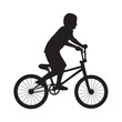 Silhouette boy ride bicycle - 70248686