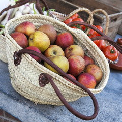 fresh apples in the basket, food closeup