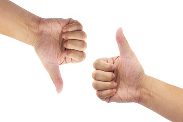 Man hand sign with thumb up and thumb down